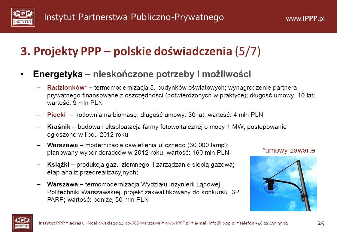 Instytut PPP adres ul. Noakowskiego 24, 00-668 Warszawa www.IPPP.pl e-mail info@ippp.pl telefon +48 22 435 95 02 25 Instytut Partnerstwa Publiczno-Pry