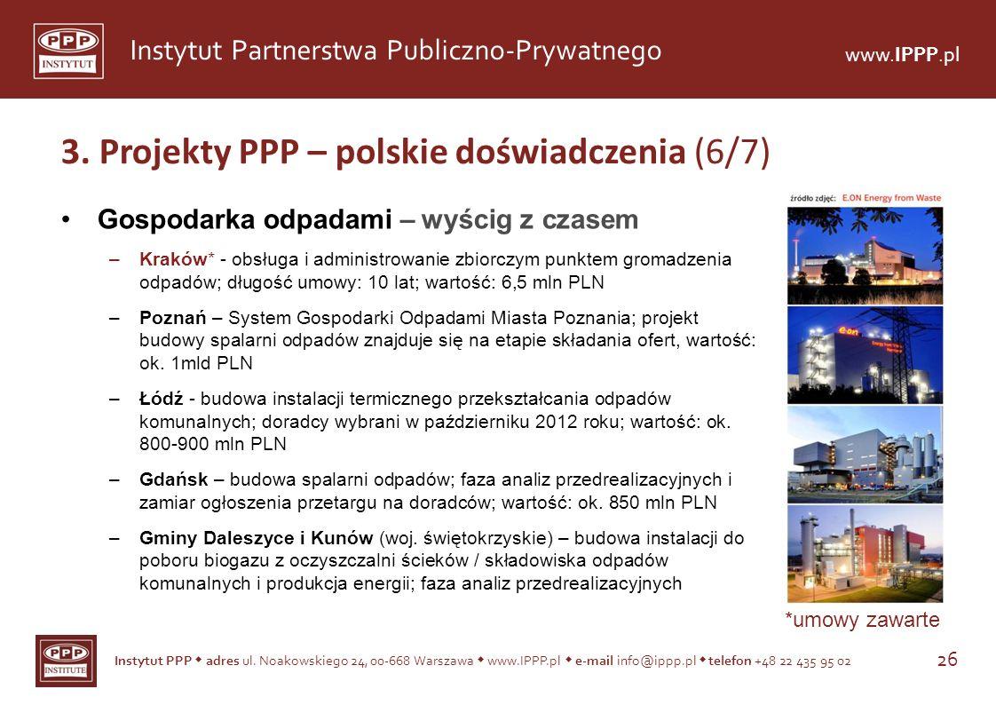 Instytut PPP adres ul. Noakowskiego 24, 00-668 Warszawa www.IPPP.pl e-mail info@ippp.pl telefon +48 22 435 95 02 26 Instytut Partnerstwa Publiczno-Pry