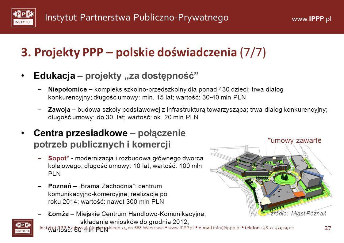 Instytut PPP adres ul. Noakowskiego 24, 00-668 Warszawa www.IPPP.pl e-mail info@ippp.pl telefon +48 22 435 95 02 27 Instytut Partnerstwa Publiczno-Pry