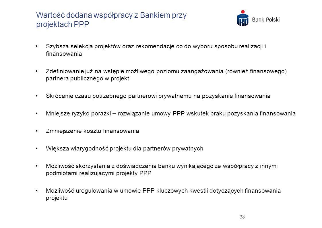 33 Wartość dodana współpracy z Bankiem przy projektach PPP Szybsza selekcja projektów oraz rekomendacje co do wyboru sposobu realizacji i finansowania