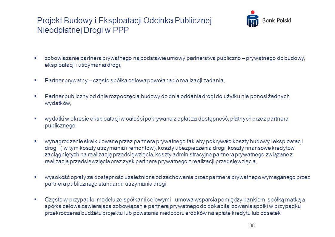 38 zobowiązanie partnera prywatnego na podstawie umowy partnerstwa publiczno – prywatnego do budowy, eksploatacji i utrzymania drogi, Partner prywatny