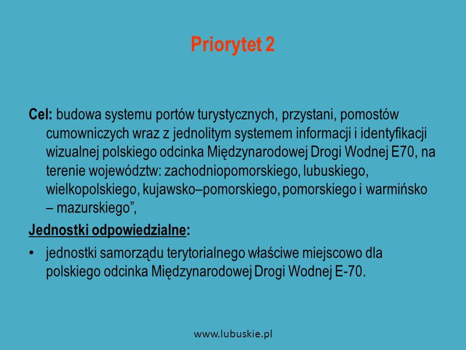 W ramach Priorytetu 2 przewiduje się działania: Działanie 2.1: Budowa sieci portów bazowych, przystani i pomostów cumowniczych zapewniających bezpieczne i wygodne uprawianie wszystkich rodzajów żeglugi turystycznej i sportowej na polskim odcinku Międzynarodowej Drogi Wodnej E-70.
