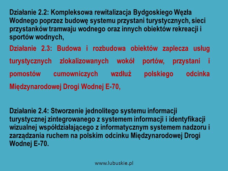 Priorytet 3 Cel: przywrócenie regularnej żeglugi towarowej poprzez rewitalizację istniejącej i budowę nowej infrastruktury przeładunkowo – logistycznej śródlądowych portów handlowych na polskim odcinku Międzynarodowej Drogi Wodnej E70 Jednostki odpowiedzialne: właściciele infrastruktury portowej, armatorzy floty śródlądowej, podmioty gospodarcze działające w pobliżu dróg wodnych, jednostki samorządu terytorialnego.