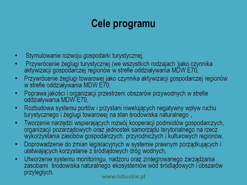 Priorytet y przedsięwzięcia Priorytet 1 (poza zadaniami własnymi JST): Cel: dostosowanie polskiego odcinka planowanej Międzynarodowej Drogi Wodnej E70 (Odra –Warta – Noteć – Kan.