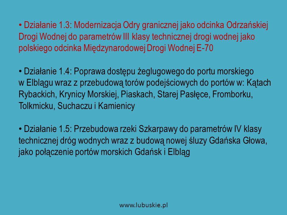 Priorytet 2 Cel: budowa systemu portów turystycznych, przystani, pomostów cumowniczych wraz z jednolitym systemem informacji i identyfikacji wizualnej polskiego odcinka Międzynarodowej Drogi Wodnej E70, na terenie województw: zachodniopomorskiego, lubuskiego, wielkopolskiego, kujawsko–pomorskiego, pomorskiego i warmińsko – mazurskiego, Jednostki odpowiedzialne: jednostki samorządu terytorialnego właściwe miejscowo dla polskiego odcinka Międzynarodowej Drogi Wodnej E-70.