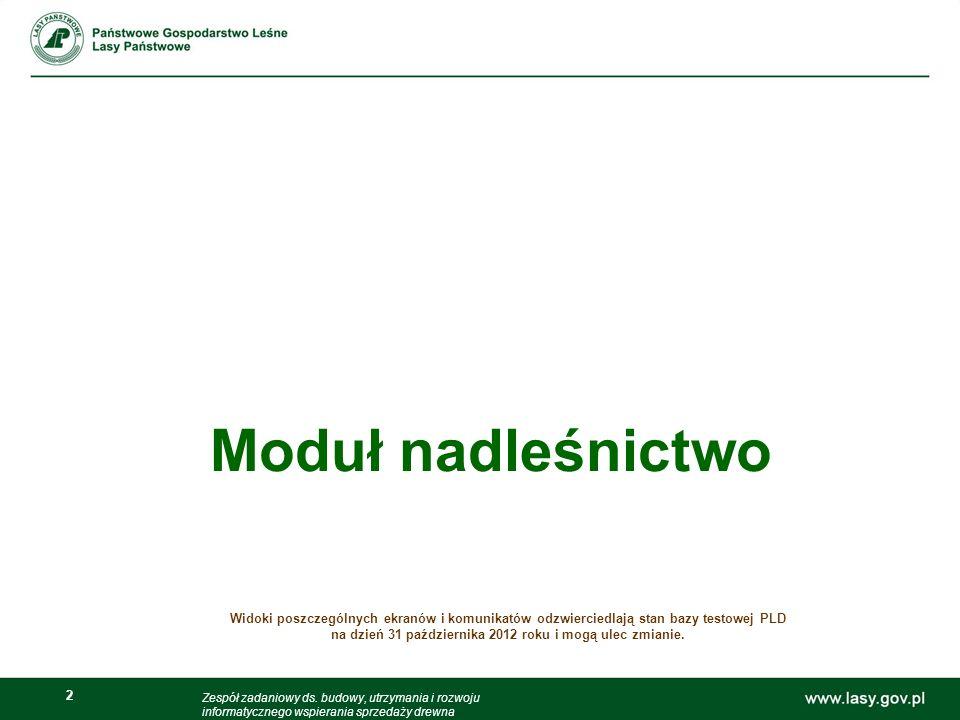 2 2 Moduł nadleśnictwo Widoki poszczególnych ekranów i komunikatów odzwierciedlają stan bazy testowej PLD na dzień 31 października 2012 roku i mogą ul