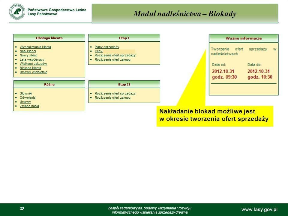 32 Moduł nadleśnictwa – Blokady Zespół zadaniowy ds. budowy, utrzymania i rozwoju informatycznego wspierania sprzedaży drewna Nakładanie blokad możliw
