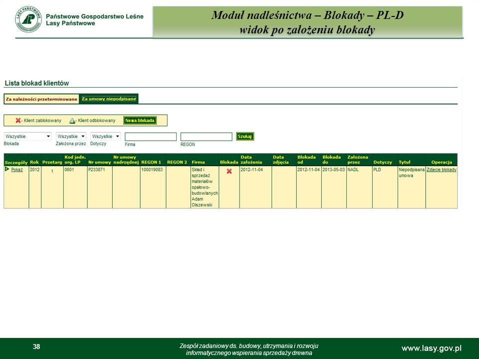 38 Moduł nadleśnictwa – Blokady – PL-D widok po założeniu blokady Zespół zadaniowy ds. budowy, utrzymania i rozwoju informatycznego wspierania sprzeda