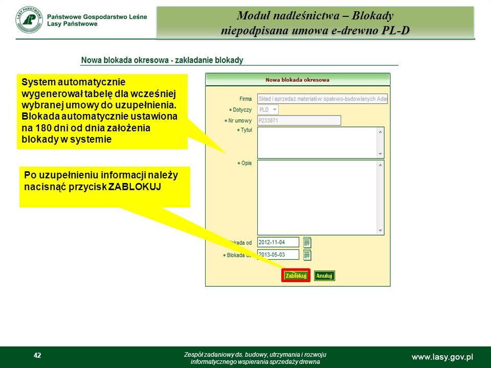42 Moduł nadleśnictwa – Blokady niepodpisana umowa e-drewno PL-D Zespół zadaniowy ds. budowy, utrzymania i rozwoju informatycznego wspierania sprzedaż