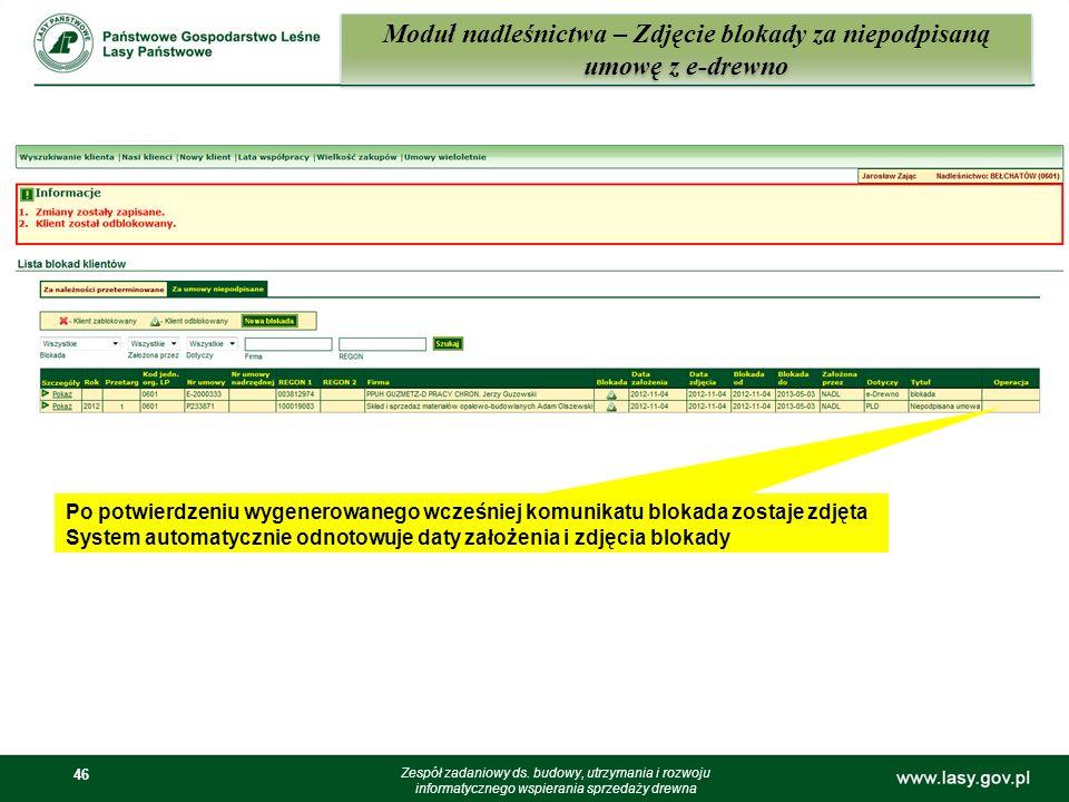 46 Moduł nadleśnictwa – Zdjęcie blokady za niepodpisaną umowę z e-drewno Zespół zadaniowy ds. budowy, utrzymania i rozwoju informatycznego wspierania