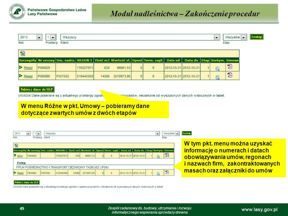 49 Moduł nadleśnictwa – Zakończenie procedur Zespół zadaniowy ds. budowy, utrzymania i rozwoju informatycznego wspierania sprzedaży drewna W menu Różn