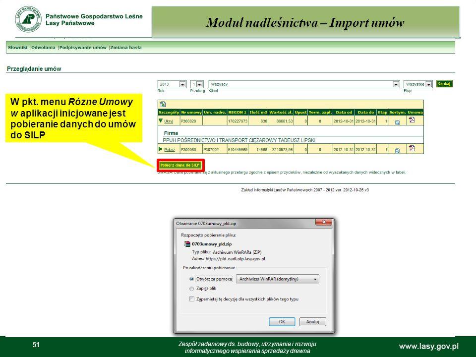 51 Moduł nadleśnictwa – Import umów Zespół zadaniowy ds. budowy, utrzymania i rozwoju informatycznego wspierania sprzedaży drewna W pkt. menu Rózne Um