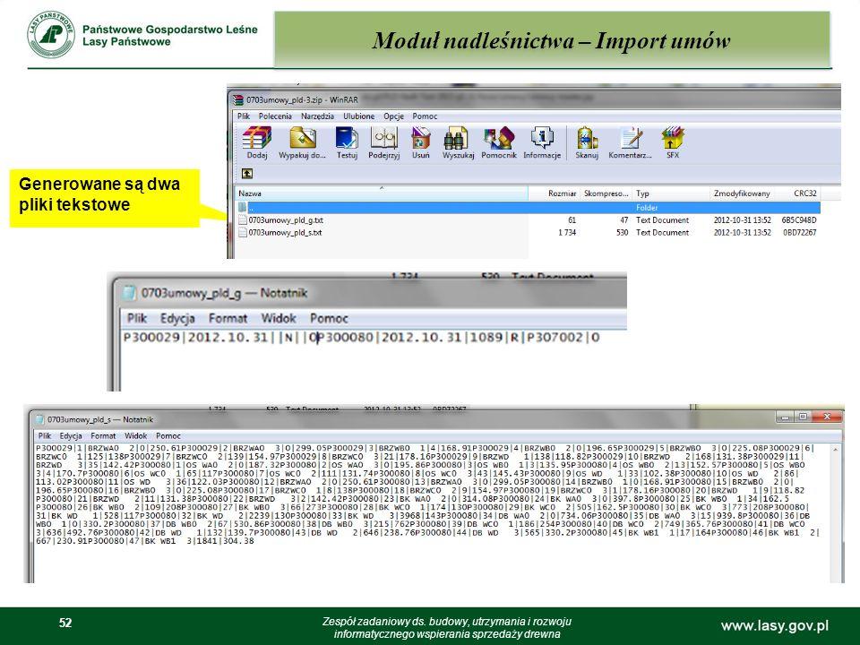 52 Moduł nadleśnictwa – Import umów Zespół zadaniowy ds. budowy, utrzymania i rozwoju informatycznego wspierania sprzedaży drewna Generowane są dwa pl