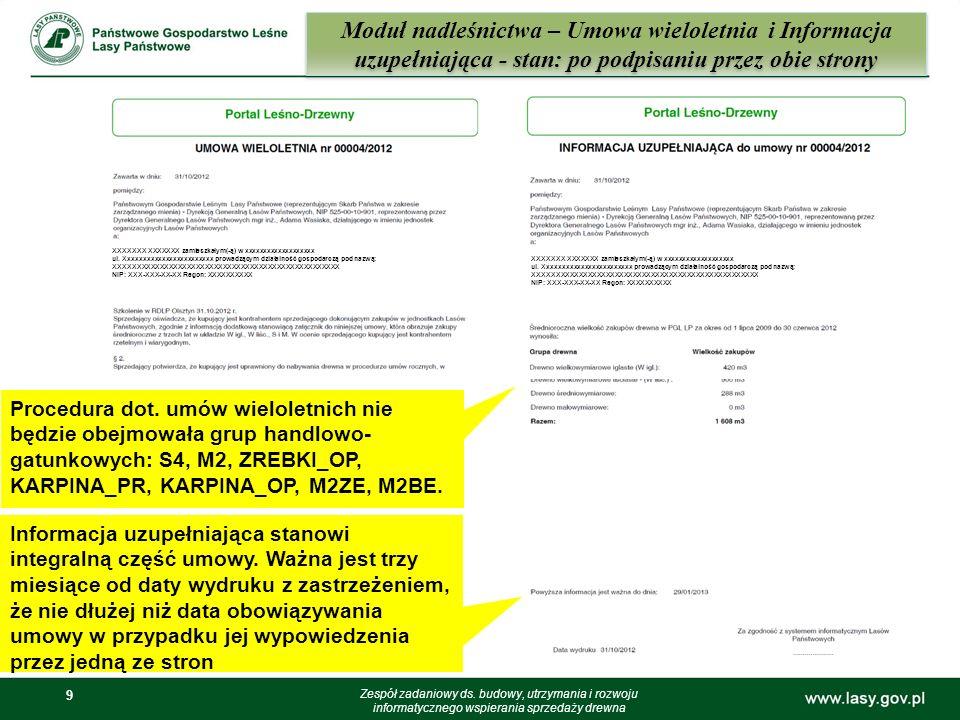 9 9 Moduł nadleśnictwa – Umowa wieloletnia i Informacja uzupełniająca - stan: po podpisaniu przez obie strony Zespół zadaniowy ds. budowy, utrzymania