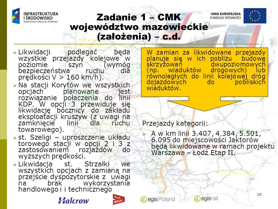 10 Zadanie 1 – CMK województwo mazowieckie (założenia) – c.d. Likwidacji podlegać będa wzystkie przejazdy kolejowe w poziomie szyn (wymóg bezpieczeńst