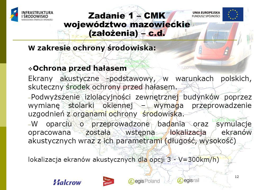 12 Zadanie 1 – CMK województwo mazowieckie (założenia) – c.d. W zakresie ochrony środowiska: Ochrona przed hałasem Ekrany akustyczne -podstawowy, w wa