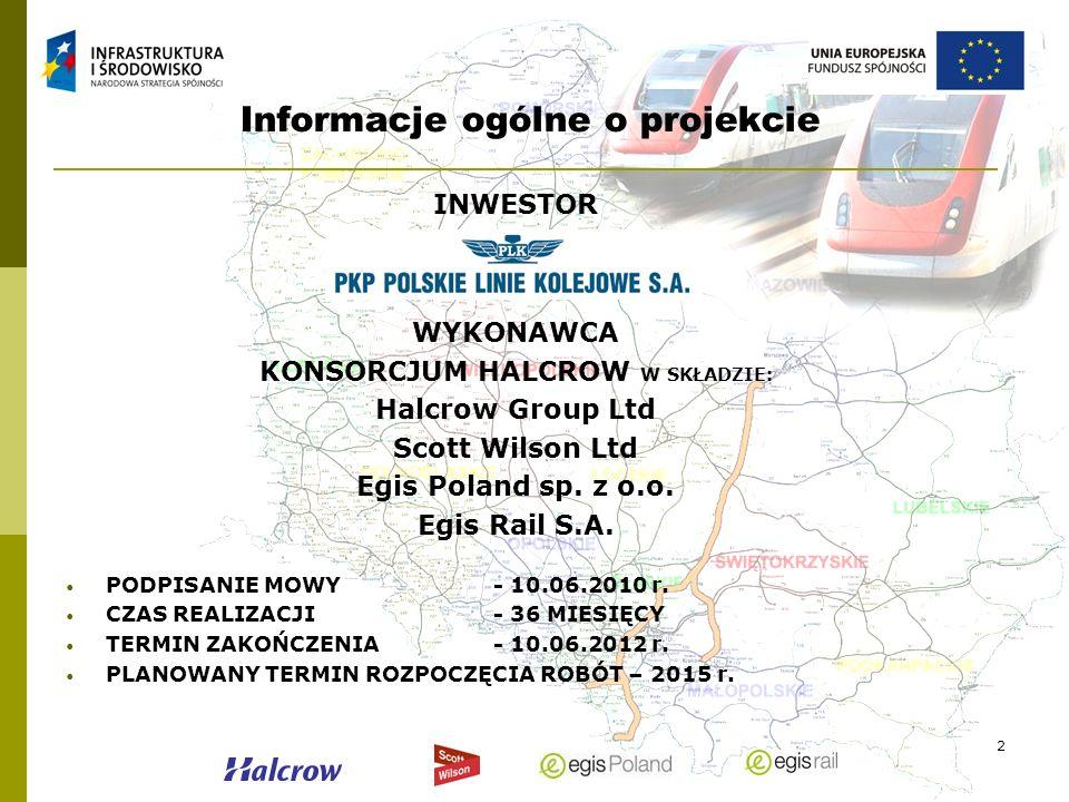2 Informacje ogólne o projekcie INWESTOR WYKONAWCA KONSORCJUM HALCROW W SKŁADZIE: Halcrow Group Ltd Scott Wilson Ltd Egis Poland sp. z o.o. Egis Rail