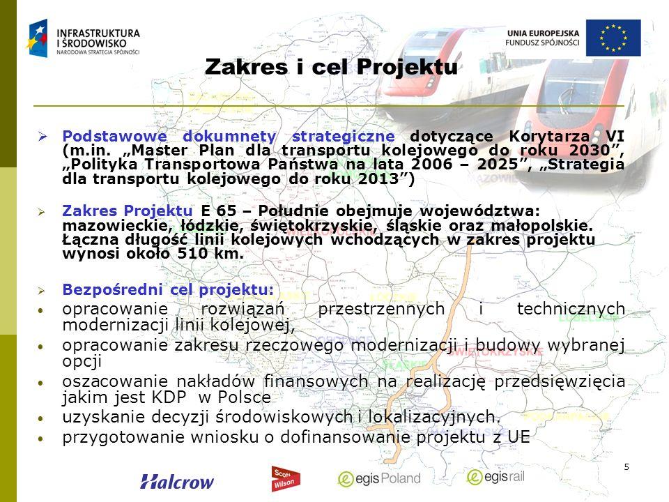 5 Zakres i cel Projektu Podstawowe dokumnety strategiczne dotyczące Korytarza VI (m.in. Master Plan dla transportu kolejowego do roku 2030, Polityka T