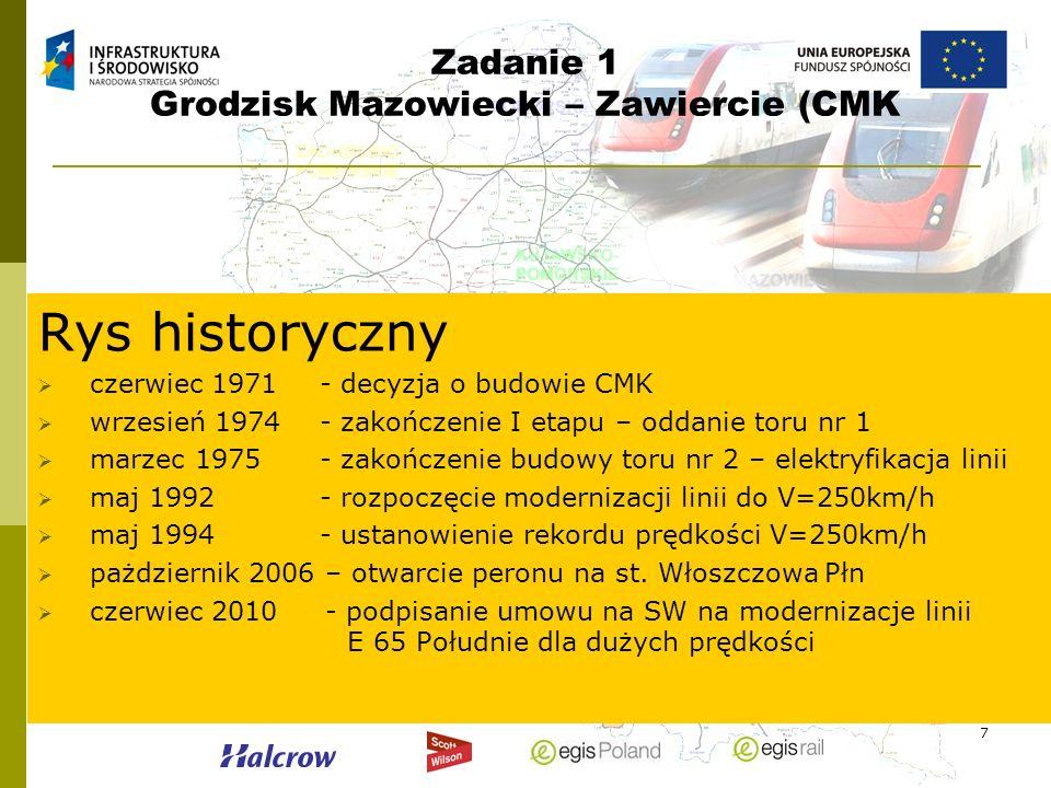 7 Zadanie 1 Grodzisk Mazowiecki – Zawiercie (CMK Rys historyczny czerwiec 1971- decyzja o budowie CMK wrzesień 1974- zakończenie I etapu – oddanie tor