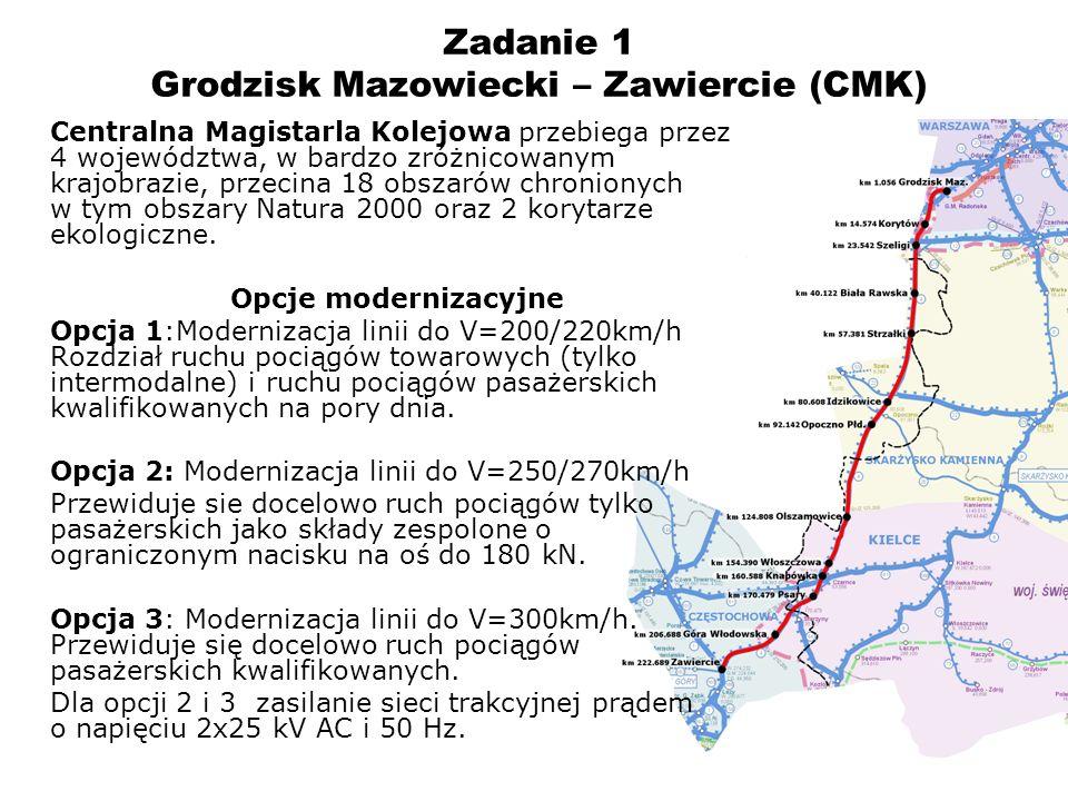 9 Zadanie 1 – CMK województwo mazowieckie (założenia) Zakres opracowania w zasięgu województwa mazowieckiego obejmuje linię kolejową od km 1.700 do km 24.598 oraz od km 53.685 do km 58.314 (gminy: Grodzisk Mazowiecki, Jaktorów, Radziejowice, Mszczonów, Nowe Miasto nad Pilicą) – łącznie 27,5 km Założenia do modernizacji oparte są o wytyczne Zamawiającego zapisne w OPZ.