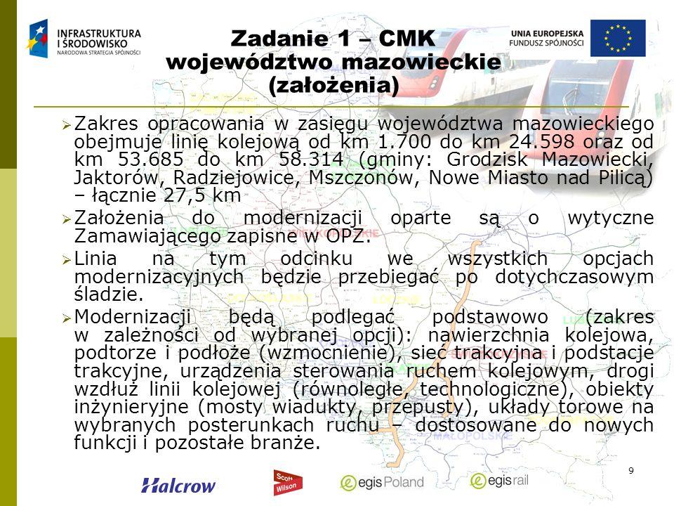9 Zadanie 1 – CMK województwo mazowieckie (założenia) Zakres opracowania w zasięgu województwa mazowieckiego obejmuje linię kolejową od km 1.700 do km