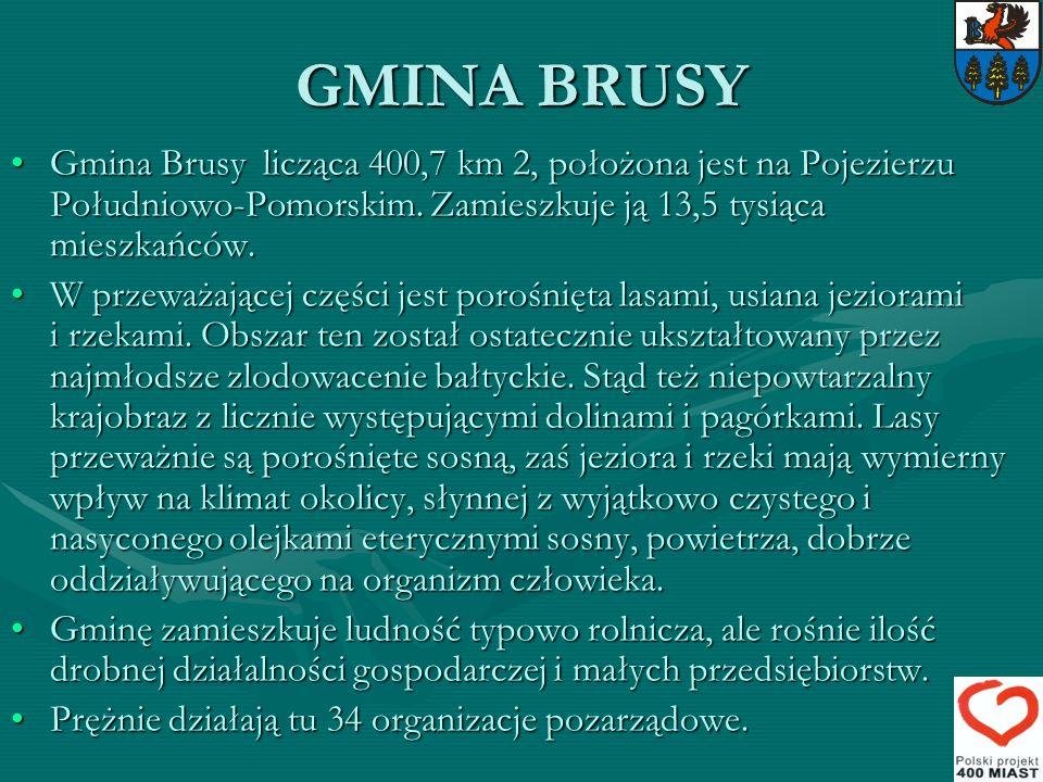 GMINA BRUSY Gmina Brusy licząca 400,7 km 2, położona jest na Pojezierzu Południowo-Pomorskim. Zamieszkuje ją 13,5 tysiąca mieszkańców.Gmina Brusy licz