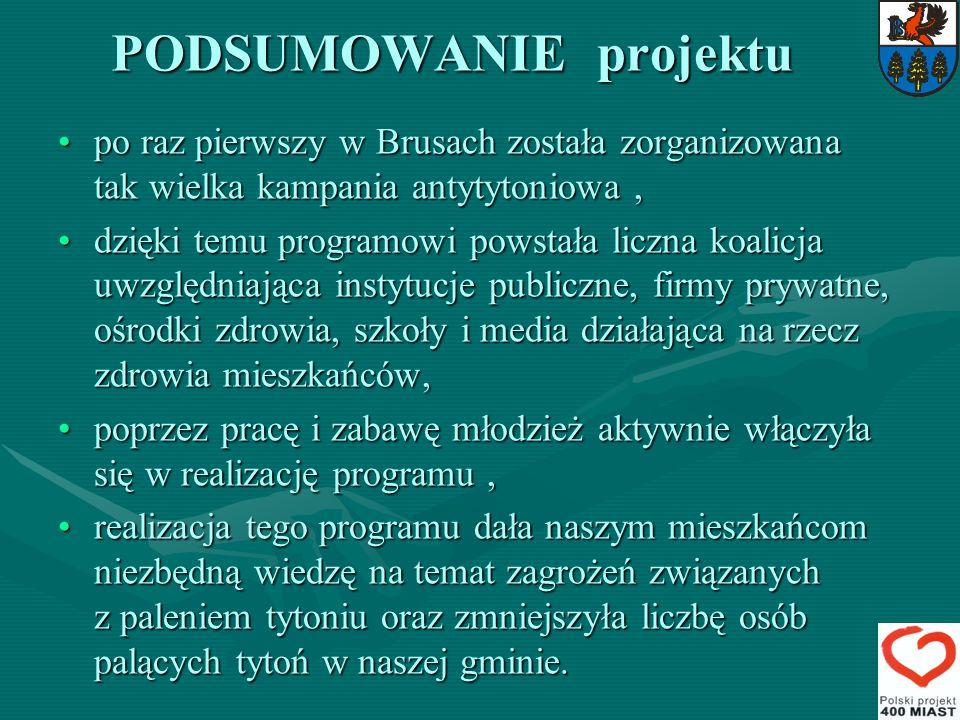 PODSUMOWANIE projektu po raz pierwszy w Brusach została zorganizowana tak wielka kampania antytytoniowa,po raz pierwszy w Brusach została zorganizowan