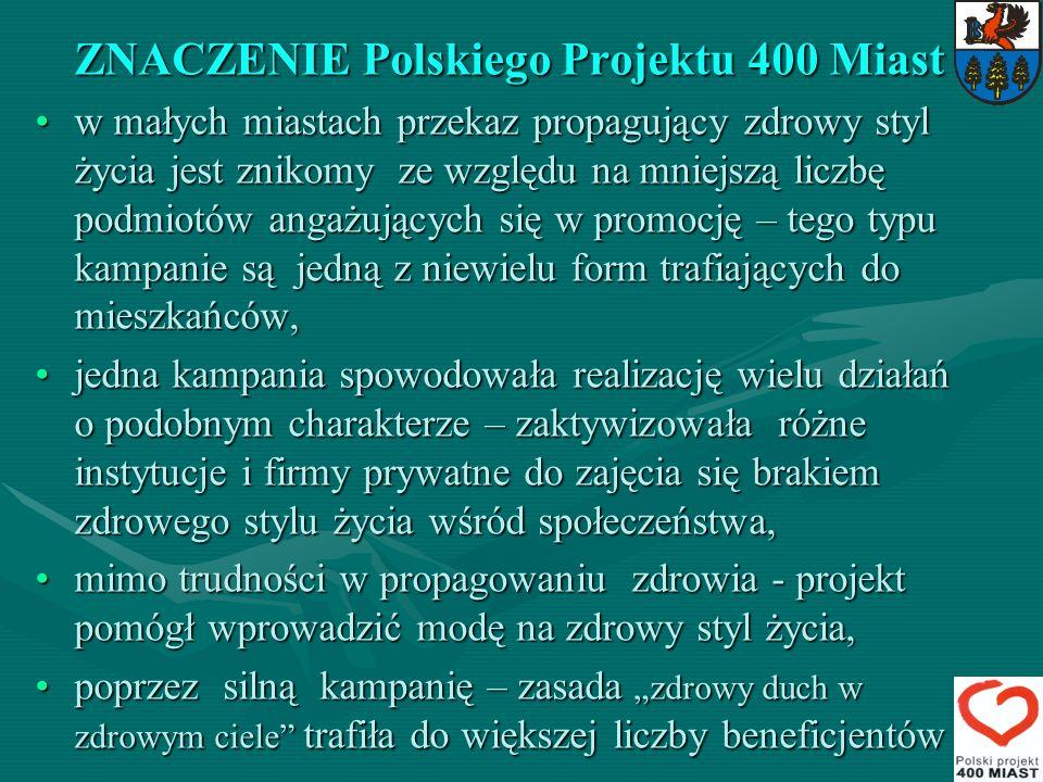 ZNACZENIE Polskiego Projektu 400 Miast w małych miastach przekaz propagujący zdrowy styl życia jest znikomy ze względu na mniejszą liczbę podmiotów an