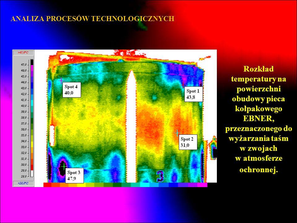 ANALIZA PROCESÓW TECHNOLOGICZNYCH Rozkład temperatury na powierzchni obudowy pieca kołpakowego EBNER, przeznaczonego do wyżarzania taśm w zwojach w at