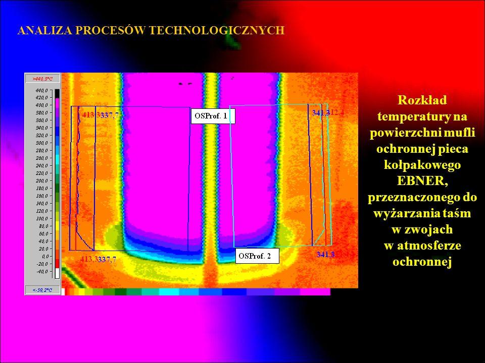 ANALIZA PROCESÓW TECHNOLOGICZNYCH Rozkład temperatury na powierzchni mufli ochronnej pieca kołpakowego EBNER, przeznaczonego do wyżarzania taśm w zwoj