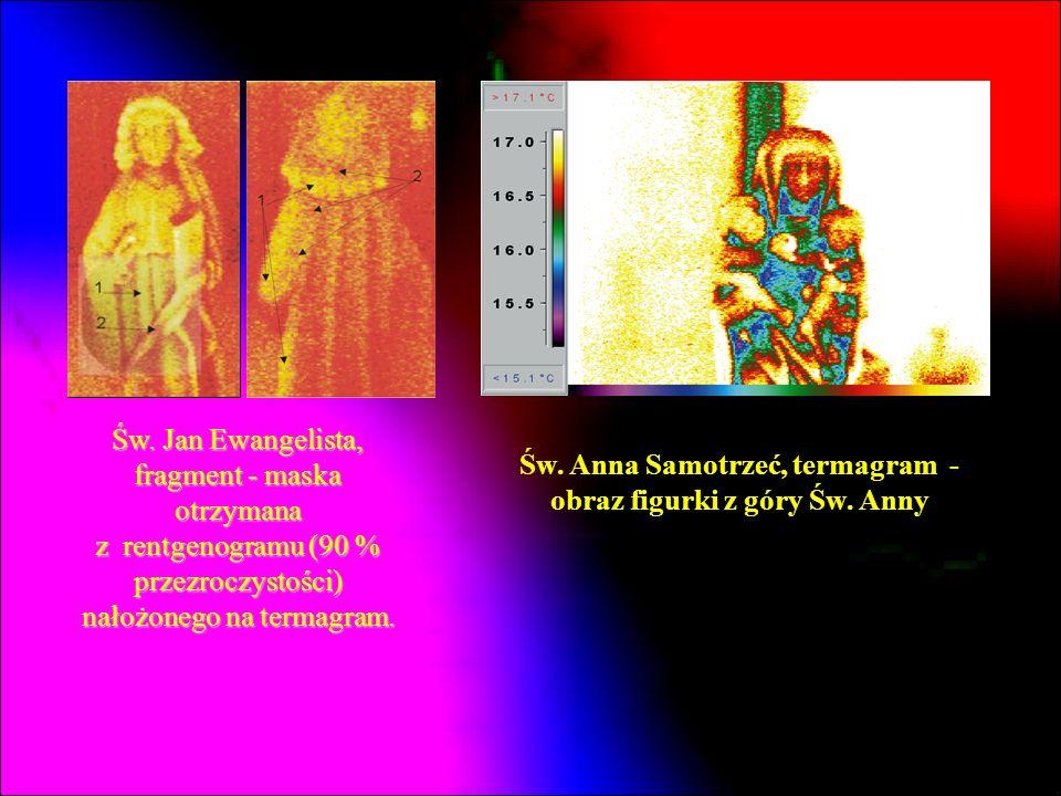 Św. Jan Ewangelista, fragment - maska otrzymana z rentgenogramu (90 % przezroczystości) nałożonego na termagram. Św. Anna Samotrzeć, termagram - obraz