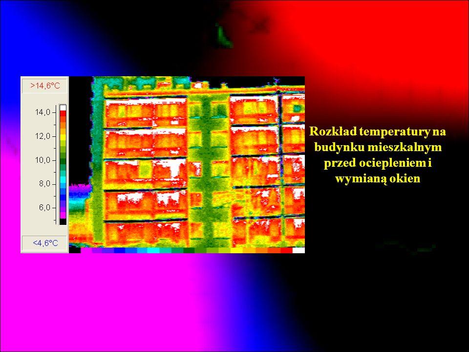 Rozkład temperatury na budynku mieszkalnym przed ociepleniem i wymianą okien