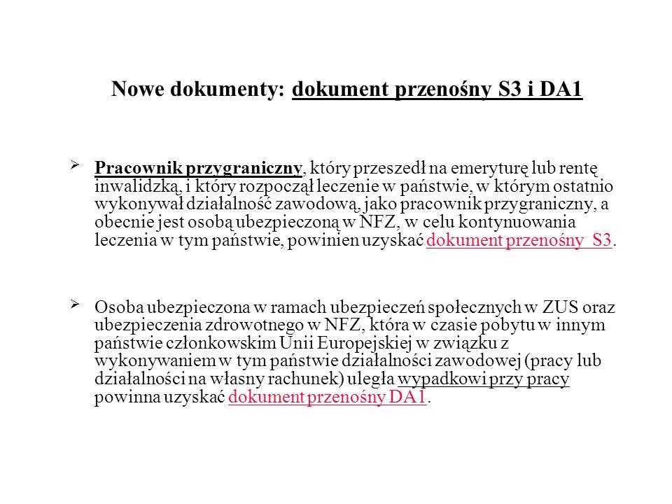 Nowe dokumenty: dokument przenośny S3 i DA1 Pracownik przygraniczny, który przeszedł na emeryturę lub rentę inwalidzką, i który rozpoczął leczenie w p