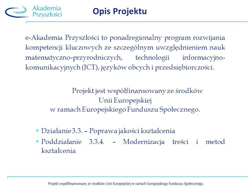 Opis Projektu e-Akademia Przyszłości to ponadregionalny program rozwijania kompetencji kluczowych ze szczególnym uwzględnieniem nauk matematyczno-przy