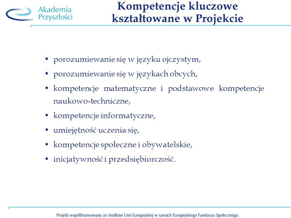 Kompetencje kluczowe kształtowane w Projekcie porozumiewanie się w języku ojczystym, porozumiewanie się w językach obcych, kompetencje matematyczne i