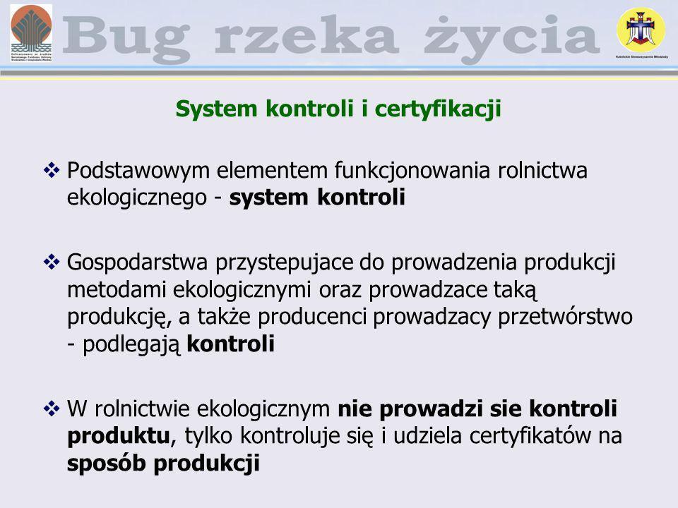 System kontroli i certyfikacji Podstawowym elementem funkcjonowania rolnictwa ekologicznego - system kontroli Gospodarstwa przystepujace do prowadzeni