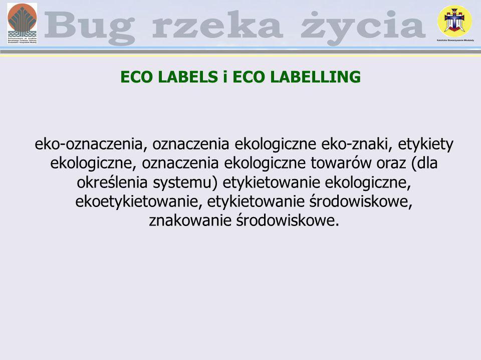 ECO LABELS i ECO LABELLING eko-oznaczenia, oznaczenia ekologiczne eko-znaki, etykiety ekologiczne, oznaczenia ekologiczne towarów oraz (dla określenia