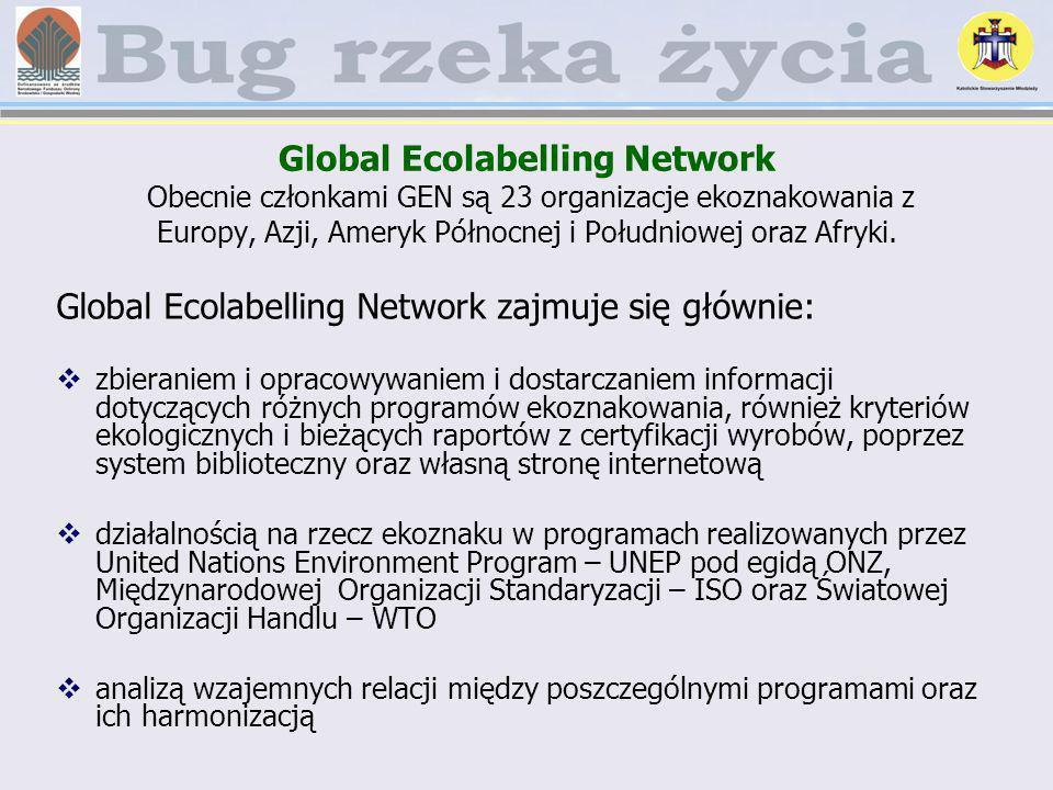 Global Ecolabelling Network Obecnie członkami GEN są 23 organizacje ekoznakowania z Europy, Azji, Ameryk Północnej i Południowej oraz Afryki. Global E