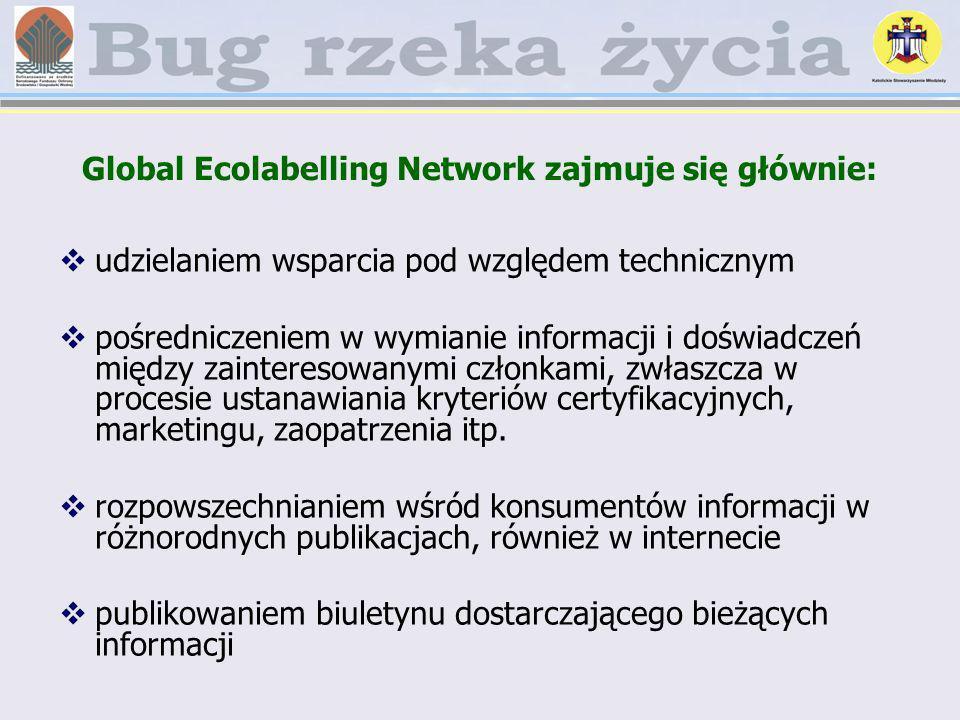 Global Ecolabelling Network zajmuje się głównie: udzielaniem wsparcia pod względem technicznym pośredniczeniem w wymianie informacji i doświadczeń mię