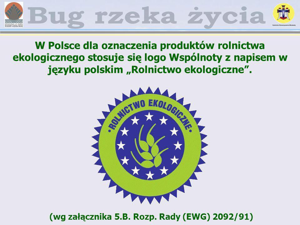W Polsce dla oznaczenia produktów rolnictwa ekologicznego stosuje się logo Wspólnoty z napisem w języku polskim Rolnictwo ekologiczne. (wg załącznika