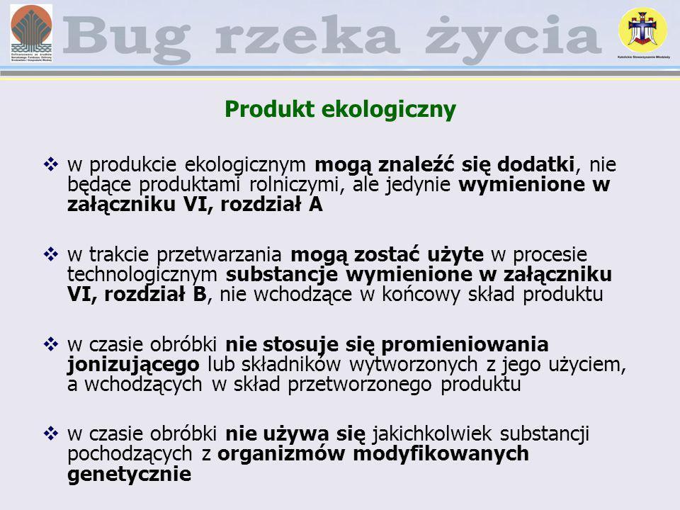 Produkt ekologiczny w produkcie ekologicznym mogą znaleźć się dodatki, nie będące produktami rolniczymi, ale jedynie wymienione w załączniku VI, rozdz