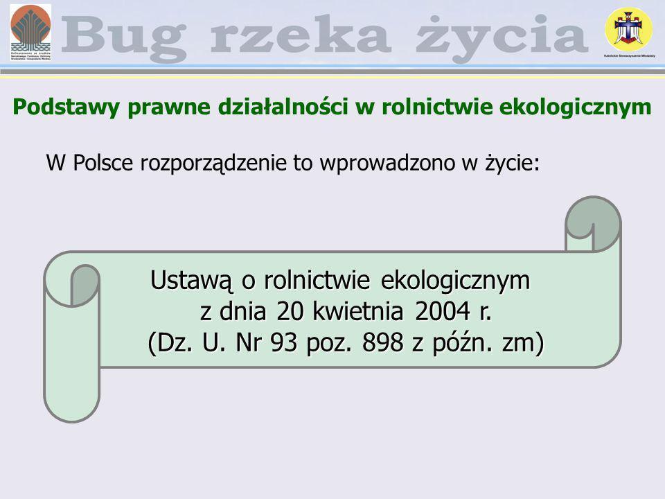W Polsce rozporządzenie to wprowadzono w życie: Ustawą o rolnictwie ekologicznym z dnia 20 kwietnia 2004 r. (Dz. U. Nr 93 poz. 898 z późn. zm)