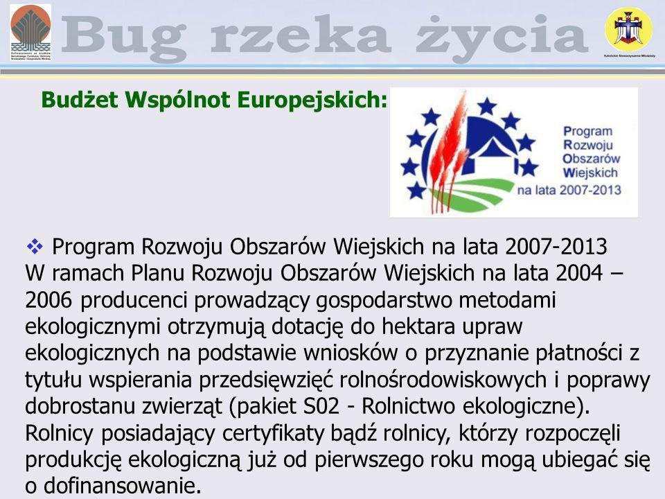 Budżet Wspólnot Europejskich: Program Rozwoju Obszarów Wiejskich na lata 2007-2013 W ramach Planu Rozwoju Obszarów Wiejskich na lata 2004 – 2006 produ