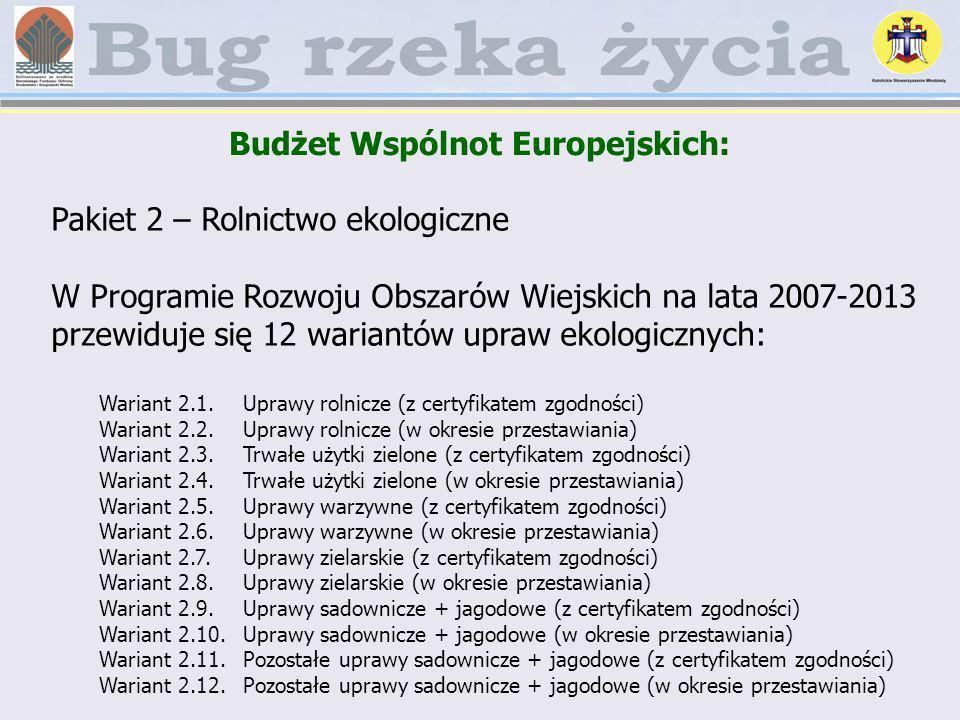 Pakiet 2 – Rolnictwo ekologiczne W Programie Rozwoju Obszarów Wiejskich na lata 2007-2013 przewiduje się 12 wariantów upraw ekologicznych: Wariant 2.1