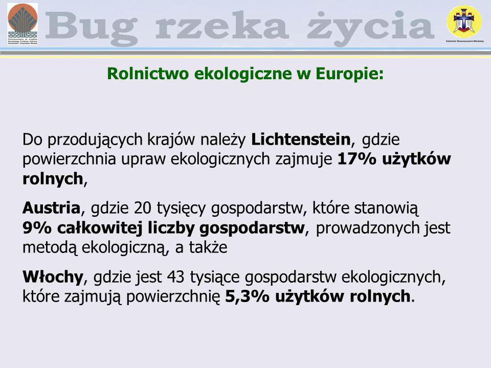 Rolnictwo ekologiczne w Europie: Do przodujących krajów należy Lichtenstein, gdzie powierzchnia upraw ekologicznych zajmuje 17% użytków rolnych, Austr