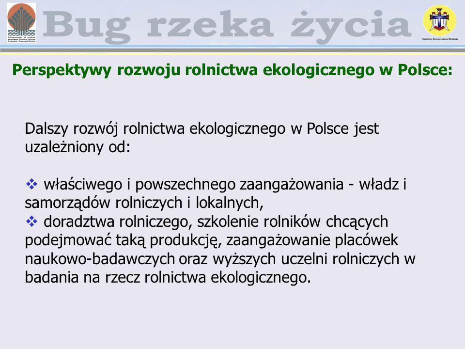 Perspektywy rozwoju rolnictwa ekologicznego w Polsce: Dalszy rozwój rolnictwa ekologicznego w Polsce jest uzależniony od: właściwego i powszechnego za