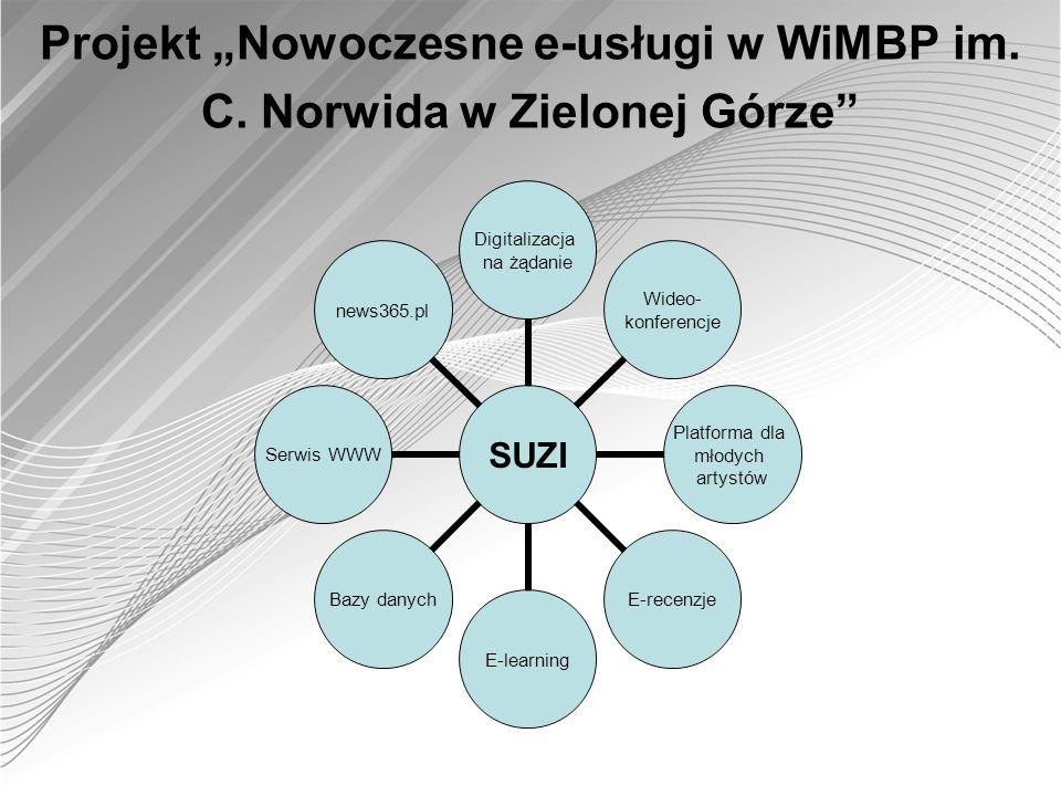 Projekt Nowoczesne e-usługi w WiMBP im. C. Norwida w Zielonej Górze SUZI Digitalizacja na żądanie Wideo- konferencje Platforma dla młodych artystów E-