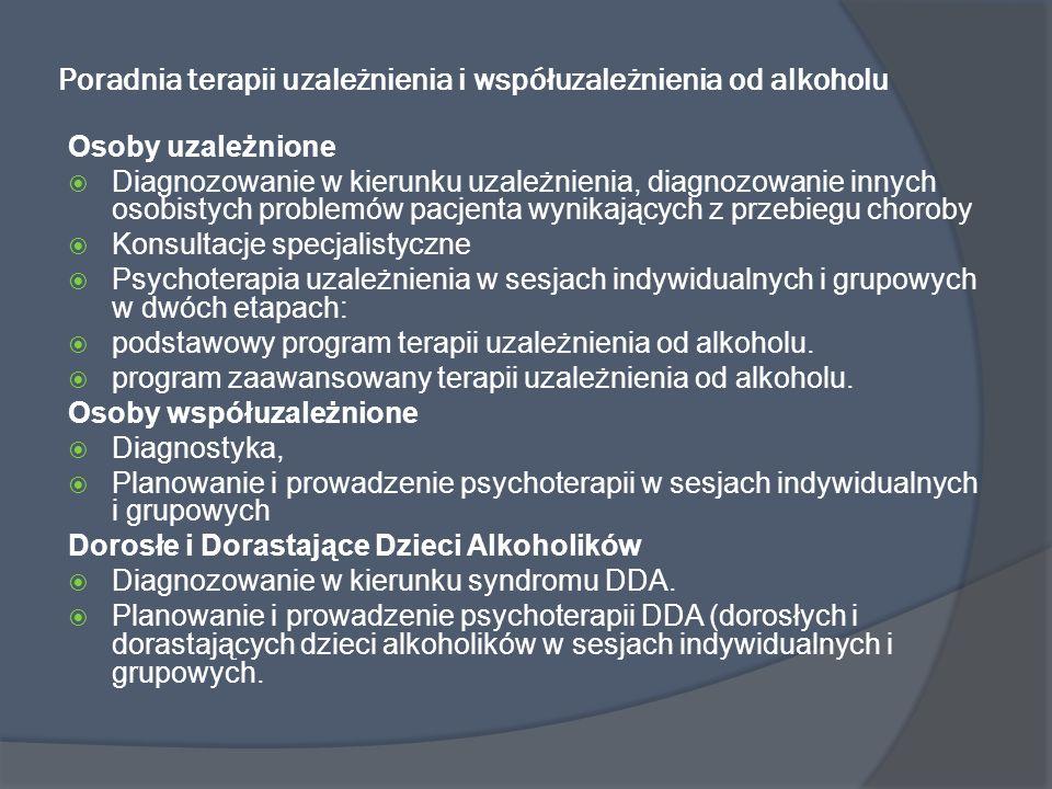 Poradnia terapii uzależnienia i współuzależnienia od alkoholu Osoby uzależnione Diagnozowanie w kierunku uzależnienia, diagnozowanie innych osobistych