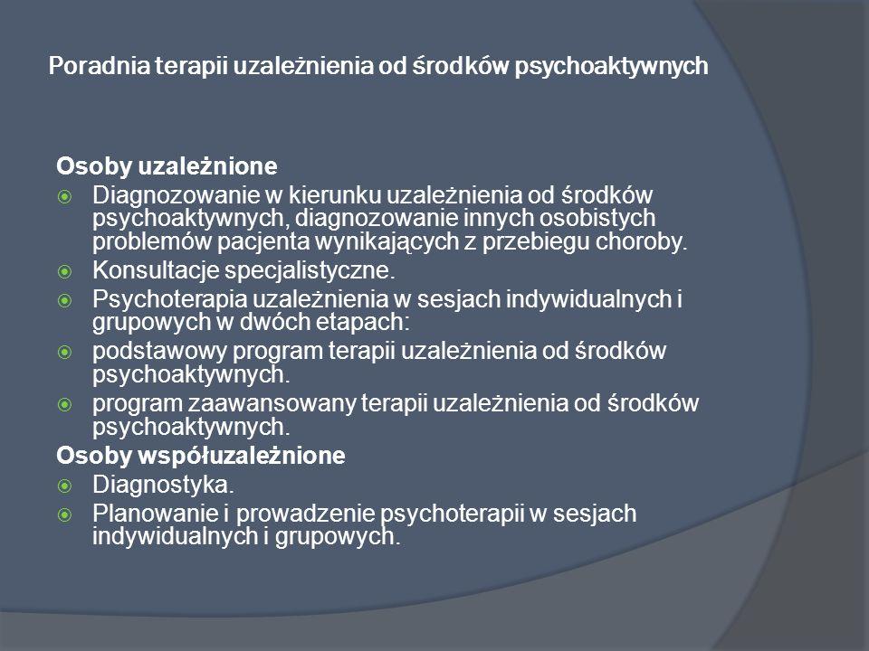 Poradnia terapii uzależnienia od środków psychoaktywnych Osoby uzależnione Diagnozowanie w kierunku uzależnienia od środków psychoaktywnych, diagnozow