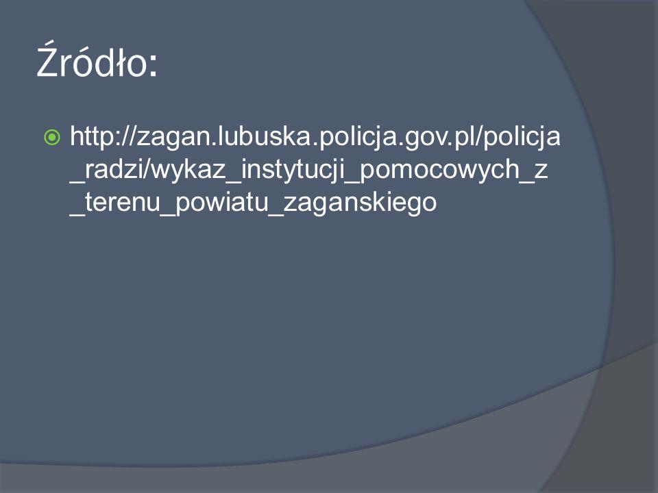 Źródło: http://zagan.lubuska.policja.gov.pl/policja _radzi/wykaz_instytucji_pomocowych_z _terenu_powiatu_zaganskiego